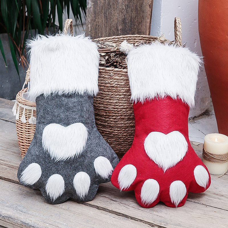 Large/18in Dog Cat Paw Christmas Stockings, Plush Hanging Socks for Holiday and Christmas Decorations