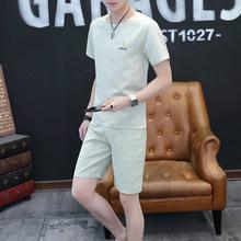 2019外贸夏季短袖套装男休闲青年潮流五分裤半袖男装格子两件套男