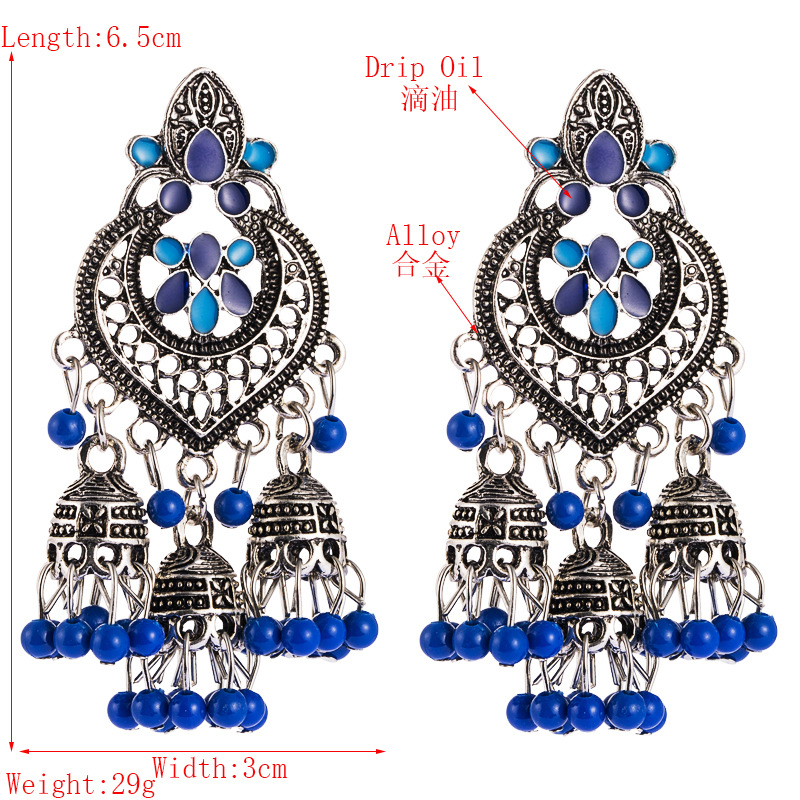 Bohemian female earrings long earrings dripping oil hollow small lantern tassel earrings NHLN188266