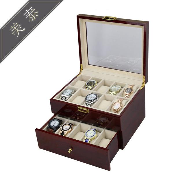 喷漆手表盒20位木质高档钢琴烤漆手表包装盒柜台展示盒现货供应