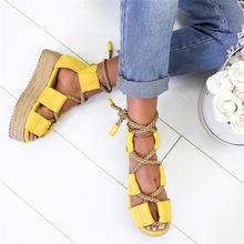 2019夏季新款女鞋 松糕跟拼色交叉绑带 亚马逊wish爆款女士凉鞋