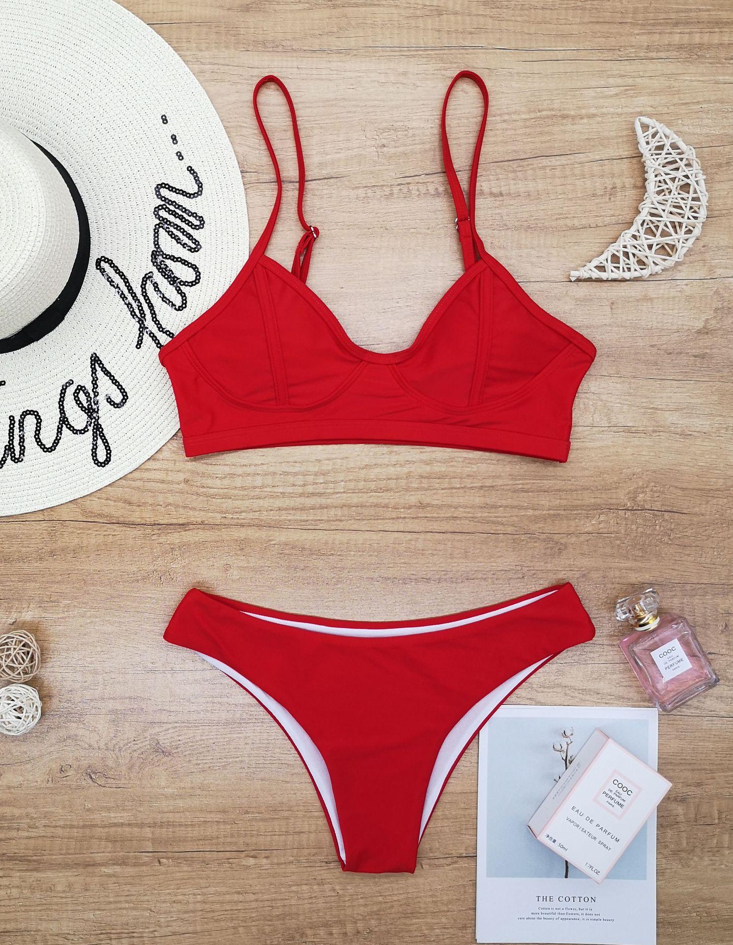 split bright silk lace-up swimsuit NSHL2016