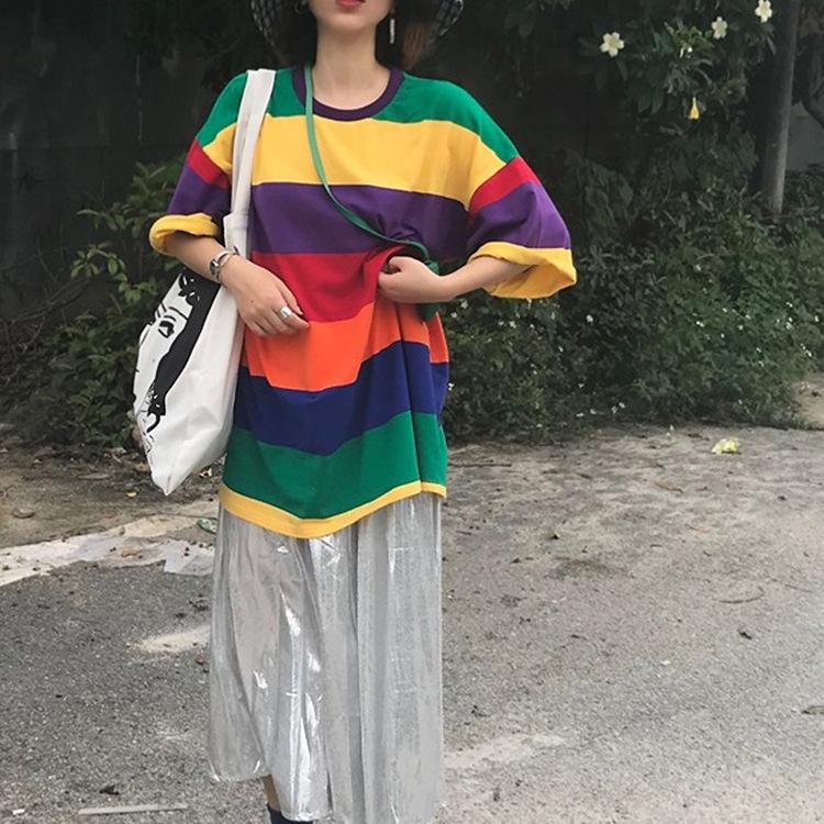 2019条纹彩虹中长款纯棉短袖大T恤+银色压褶半身裙 女装批发混批
