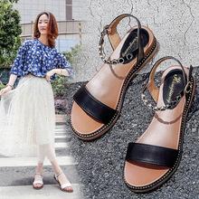 复古chic凉鞋女款2019夏季新款时尚百搭韩版平底一字带坡跟仙女风