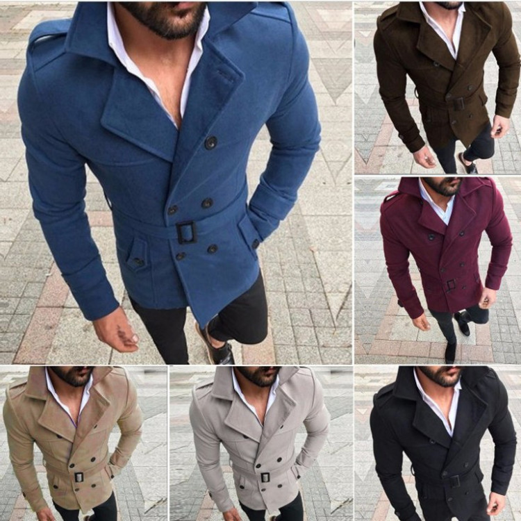 Men's Woolen Coat Lapel Casual Windbreaker