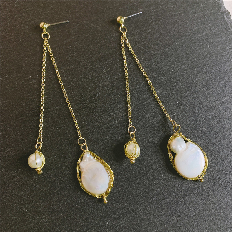 2019 new Baroque earrings female retro earrings natural large pearl earrings wholesales fashion NHYQ181349