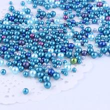 20克ABS整圆无孔蔚蓝混尺寸五彩幻彩仿珍珠人造无孔珍珠滴胶封入