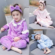兒童家居服秋冬款女童珊瑚絨法蘭絨長袖公主加厚睡衣寶寶保暖套裝