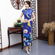 2019新款女冬季加大码走秀表演长款旗袍改良优雅中国风显瘦连衣裙