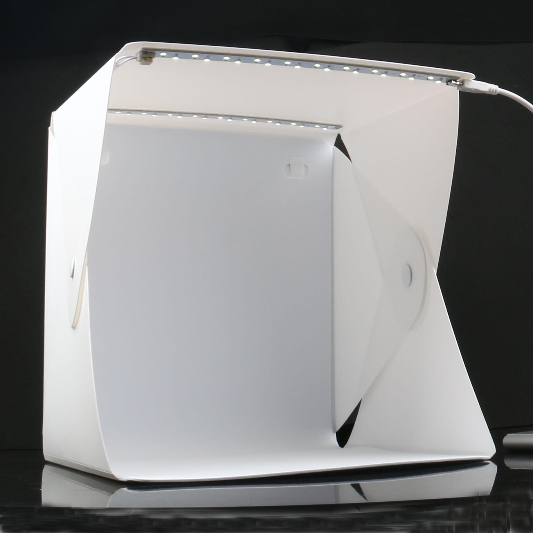 折疊攝影棚 雙四背景布-雙燈條款LED 靜物補光拍攝柔光箱  20CM攝影棚 +行動電源10000毫安