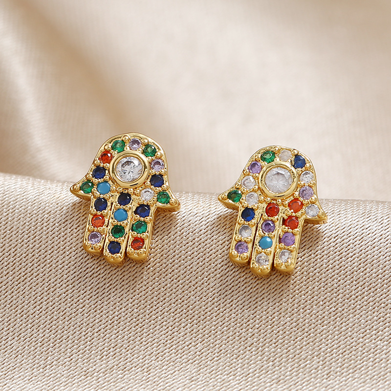Fashion old palm earrings female original popular copper jewelry wholesale NHKQ192349