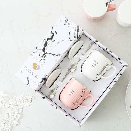 vài màu hồng dễ thương của mạ vàng cốc cốc phim hoạt hình với nắp gốm cốc thìa phù hợp với cả nam và nữ quảng cáo quà tặng Cup Bộ cốc