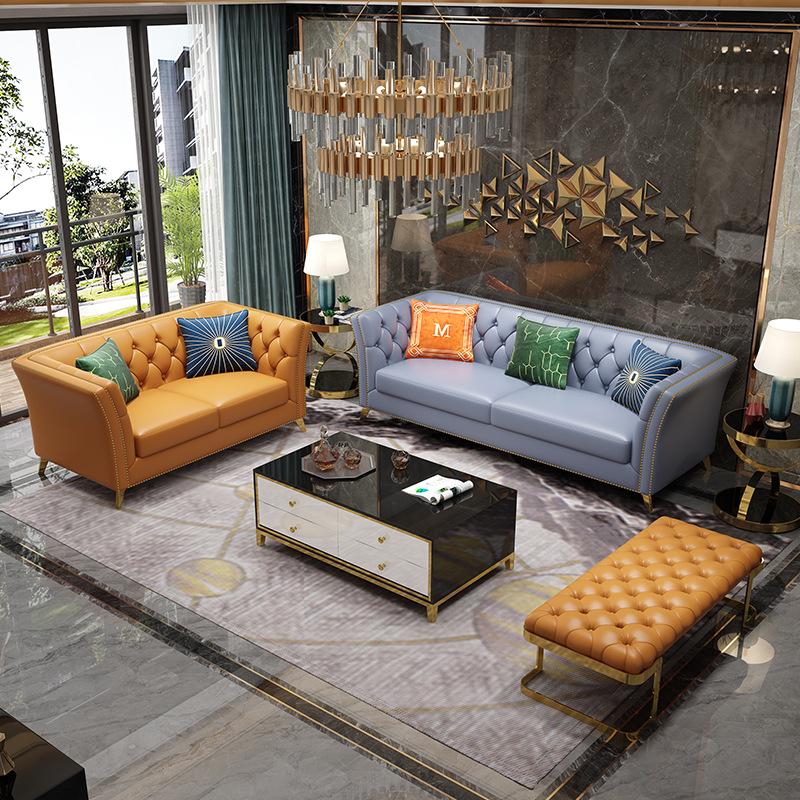 后现代轻奢真皮沙发 港式设计师样板间 轻奢家具镀金美式皮沙发