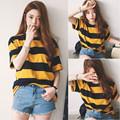 2019韩版新款黑黄条纹t恤网红圆领短袖T袖时尚宽松显瘦百搭上衣女
