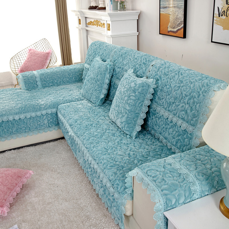 Thick Slip Resistant Couch Cover for Corner Sofa Made with Plush Fabric Including Lace for Living Room Decor 22