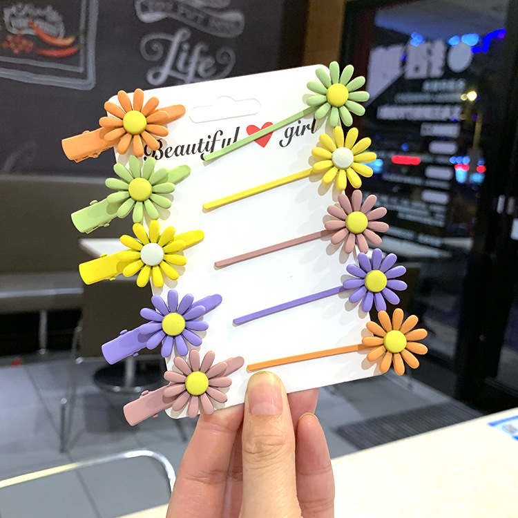 Korean color hair clip sweet girl daisy candy color hair accessory duckbill clip bangs hair rope NHSA201190