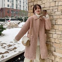 冬装羊羔毛皮毛一体外套女中长款秋冬2019新款加厚宽松麂皮绒大衣