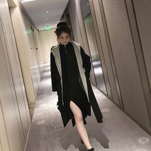 2019秋冬流行黑色雙面呢子大衣女中長款假兩件連帽毛呢外套裝裙子