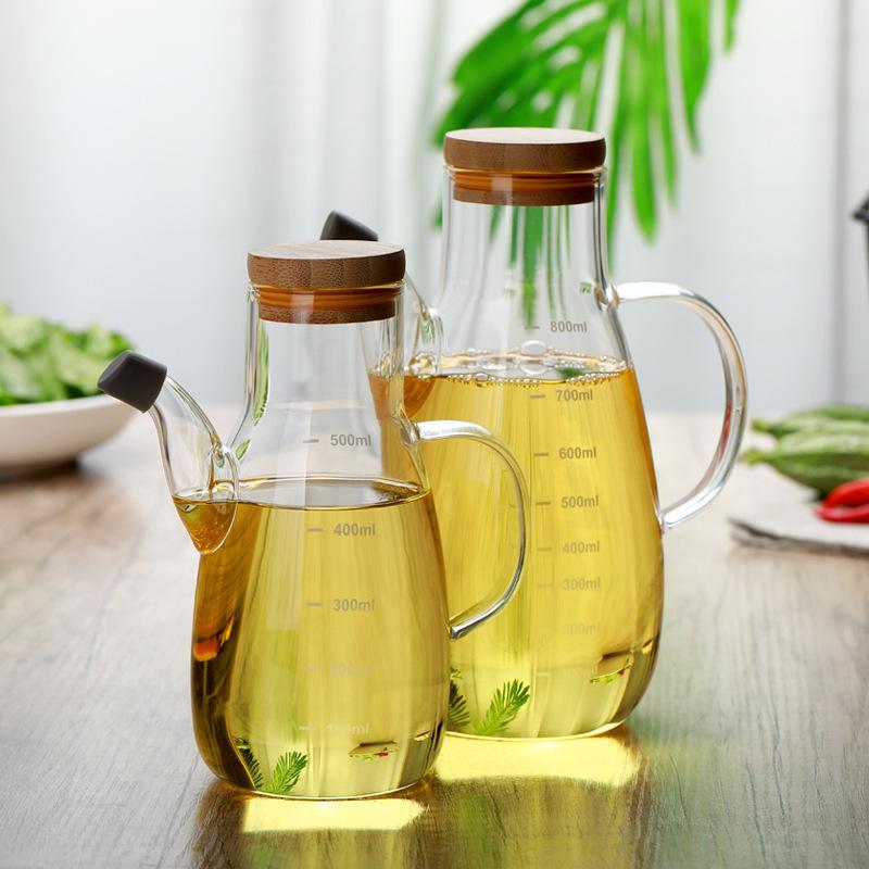 家用厨房玻璃调味壶油瓶鹰嘴防漏带刻度高硼硅耐热玻璃油壶