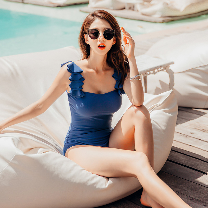 Fashion new flower petal shoulder strap sexy conservative cover belly one-piece swimsuit women NHHL198394