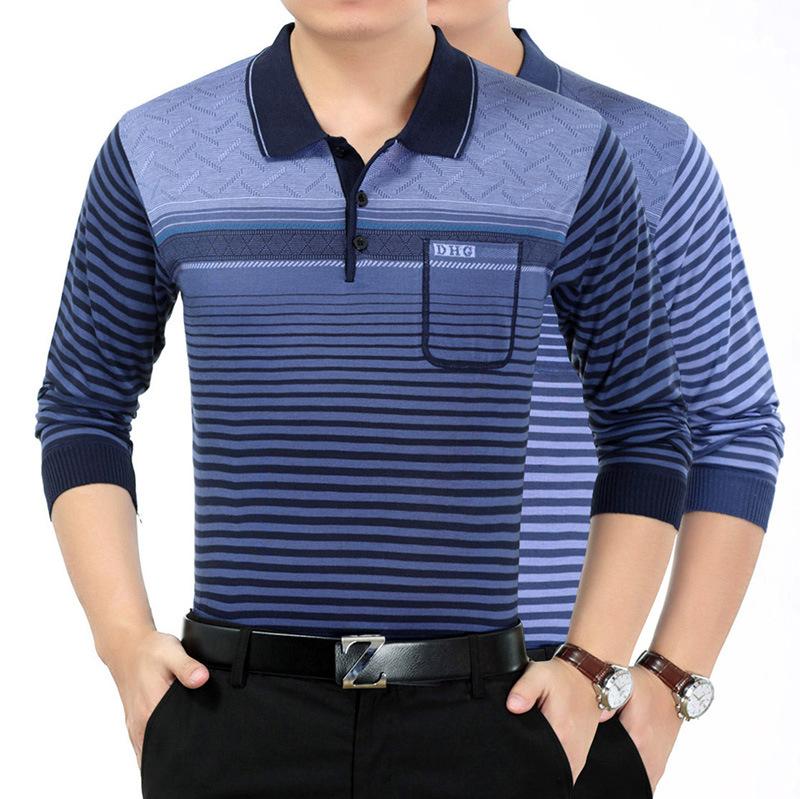 厂家直销跨境中老年男装 T恤衫秋冬针织打底衫 男长袖t恤一件代发
