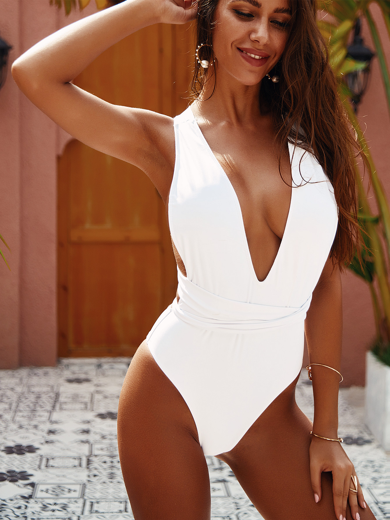 One-Piece Ladies Bandage Swimsuit NSDA1685