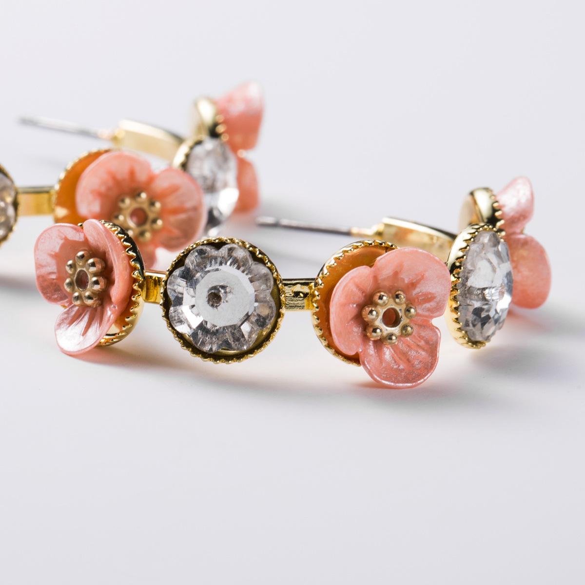 Womens Floral Plastic Rhinestone flower Earrings NHJE124029