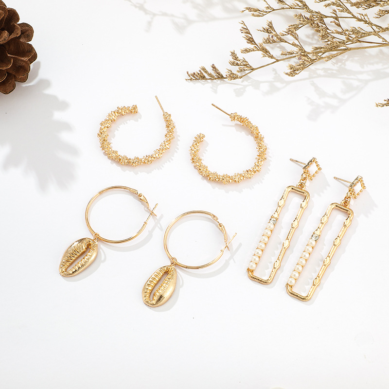 Temperament wind alloy shell pearl earrings NHGY155104
