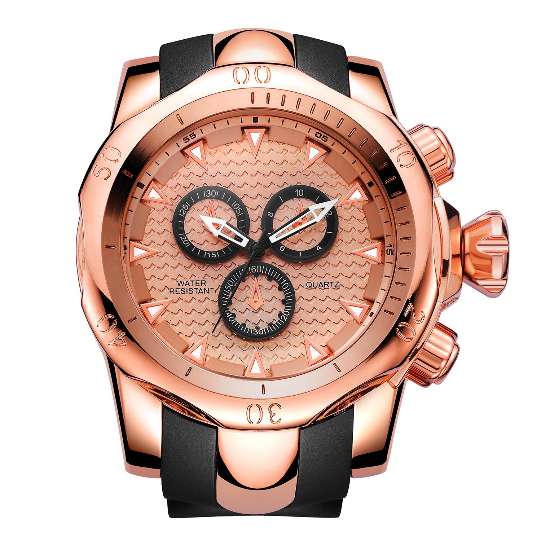 江玉燕JIANGYUYAN品牌新款男士手表假三盘大表盘硅胶带石英表批发