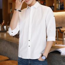 男式短袖衬衫2019夏季新款韩版?#34892;?#34924;衣男青年休闲纯棉五分袖寸衫