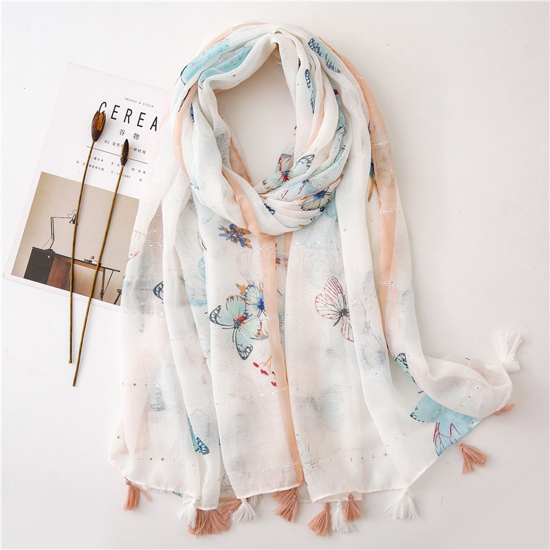 Spring, summer and autumn new butterfly sequin printed cotton and linen air conditioning sun shawl NHGD182222