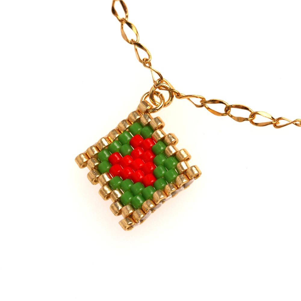 New Fashion MIYUKI Rice Beads Hand Woven Heart Pendant Bracelet Stainless Steel Golden Bracelet NHPY209841