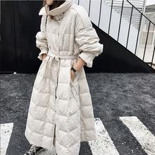 2019新款女装羽绒外套大衣立领腰带上款白鸭绒时尚羽绒服女冬厂家