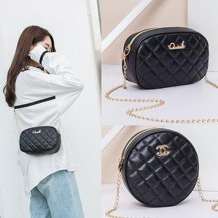 Embroidered shoulder bag female bag 2021 new fashion rhombus chain round bag mini mobile phone messenger small square bag gift