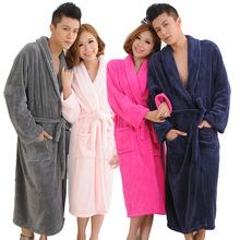 法兰绒情侣睡袍秋冬季珊瑚绒睡衣浴袍跨境长款家居服外贸加厚浴衣