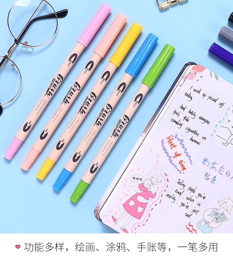 Soft and hard doubleheaded waterbased marker pen watercolor pen gradient color student painting graffiti poster calligraphy hand account NHZE199251