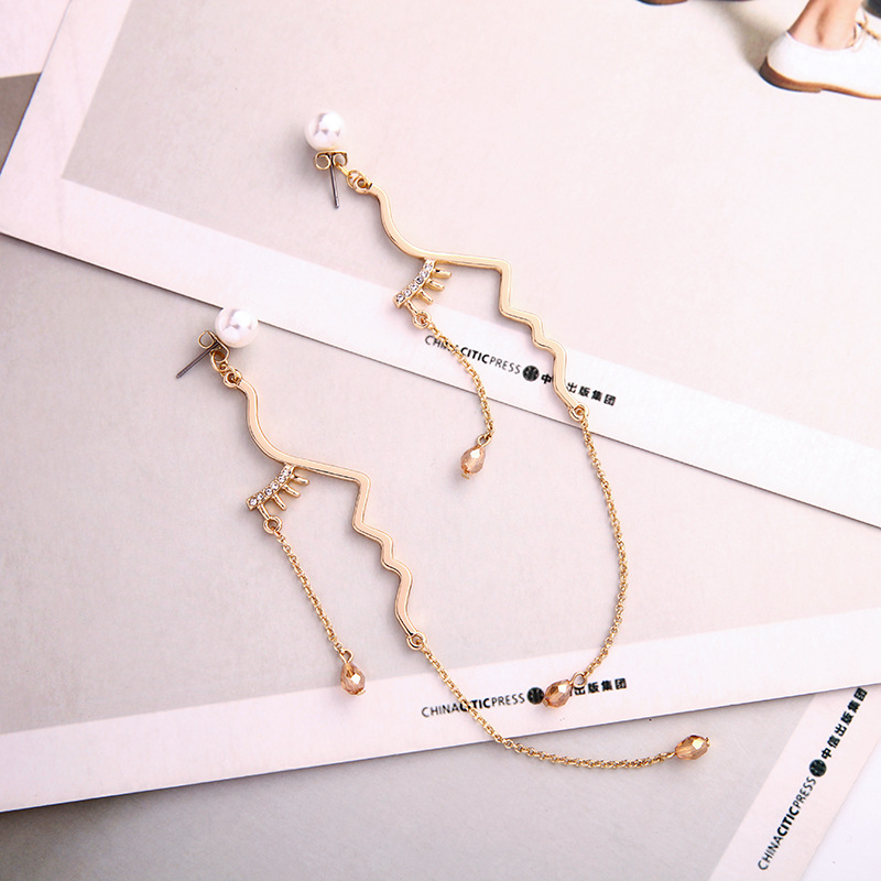 Womens Geometric Long creative geometric irregularities  Rhinestone Alloy Earrings QD190430120034