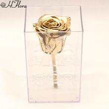 1朵永生花金色玫瑰方形亚克力玫瑰花礼盒透明永生花礼盒保鲜花