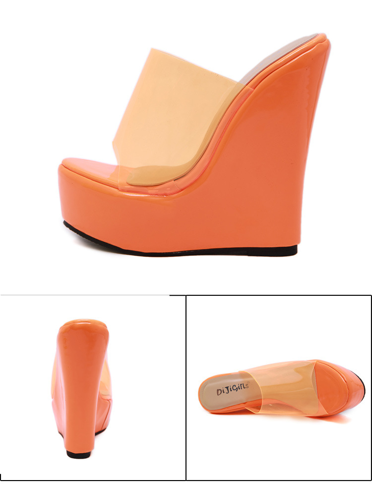 Fluorescent simple high heel wedge sandals and slippers NHSO135059