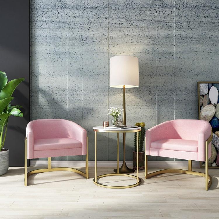 北欧单人位接待沙发椅商城会议室布艺沙发奶茶店小户型懒人沙发