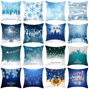 18'' Cushion Cover Pillow Case Christmas snow view series pillow cover sofa cushion cover car cushion cover customization