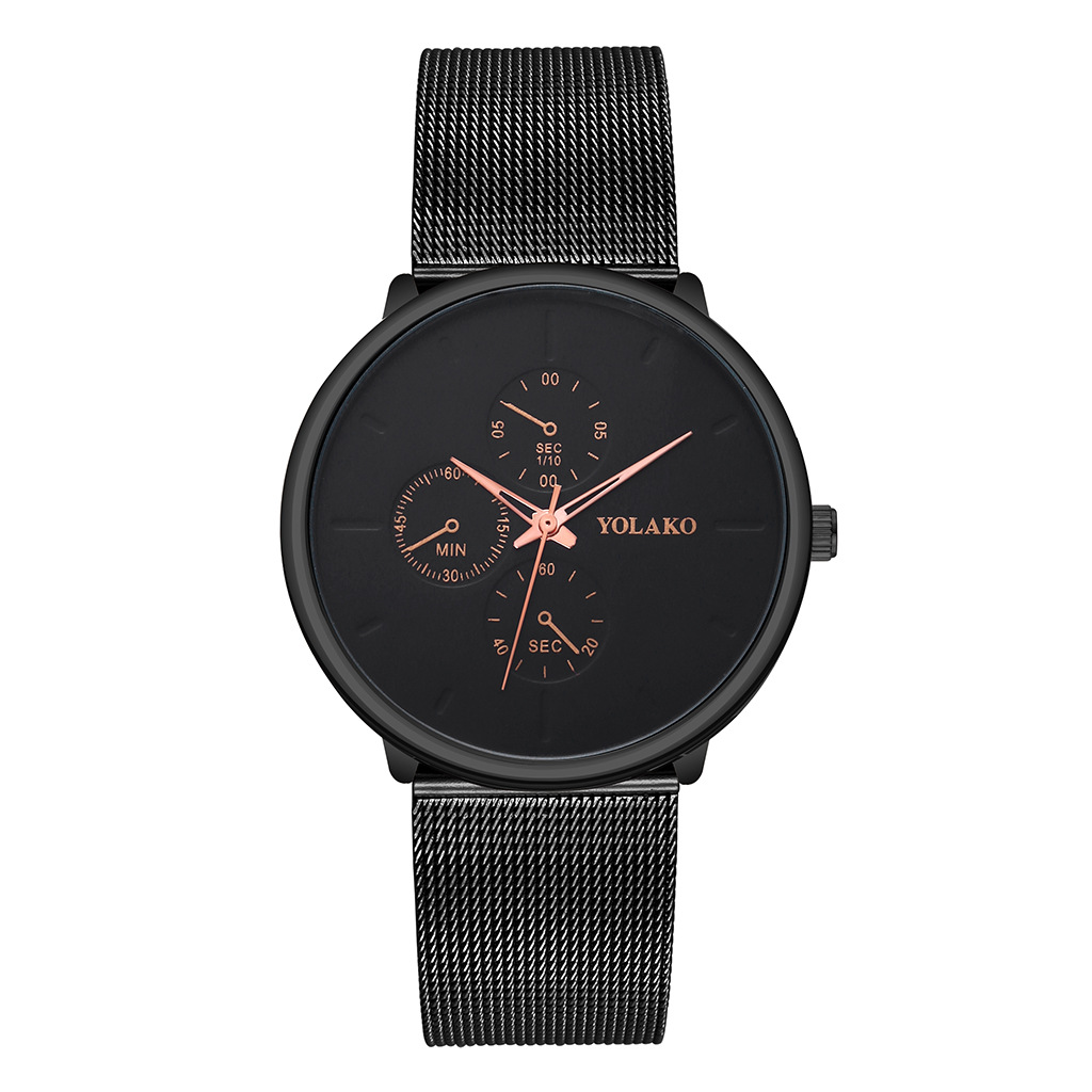 New ultra-thin men's alloy mesh belt watch YOLAKO fashion fake three eye three needle business watch men NHSY199304