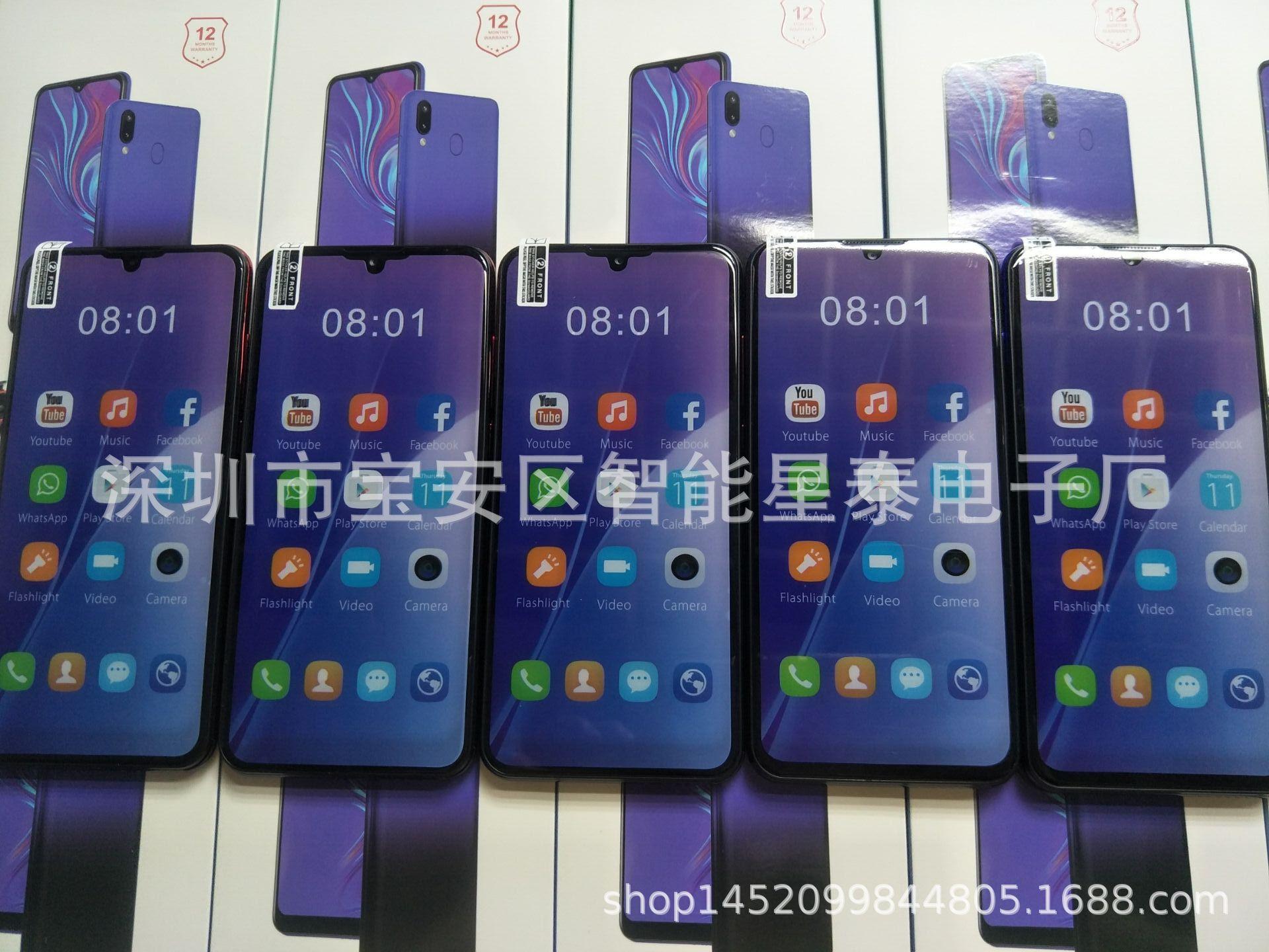 跨境新款M20 6.3寸水滴屏手机指纹一体机智能手机现货低价手机