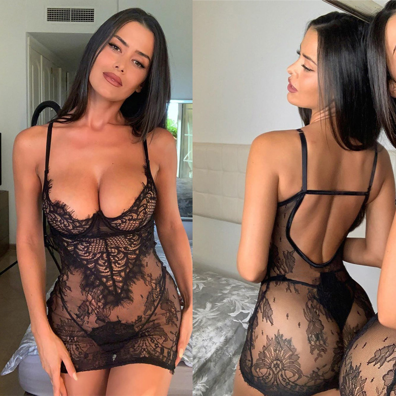Sexy Perspective Appeal Underwear Eyelash Lace Thong Pants Temptation Set