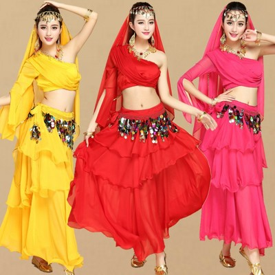 Indian dance costume stage performance costume high-end belly dance costume one-shoulder top cake skirt suit