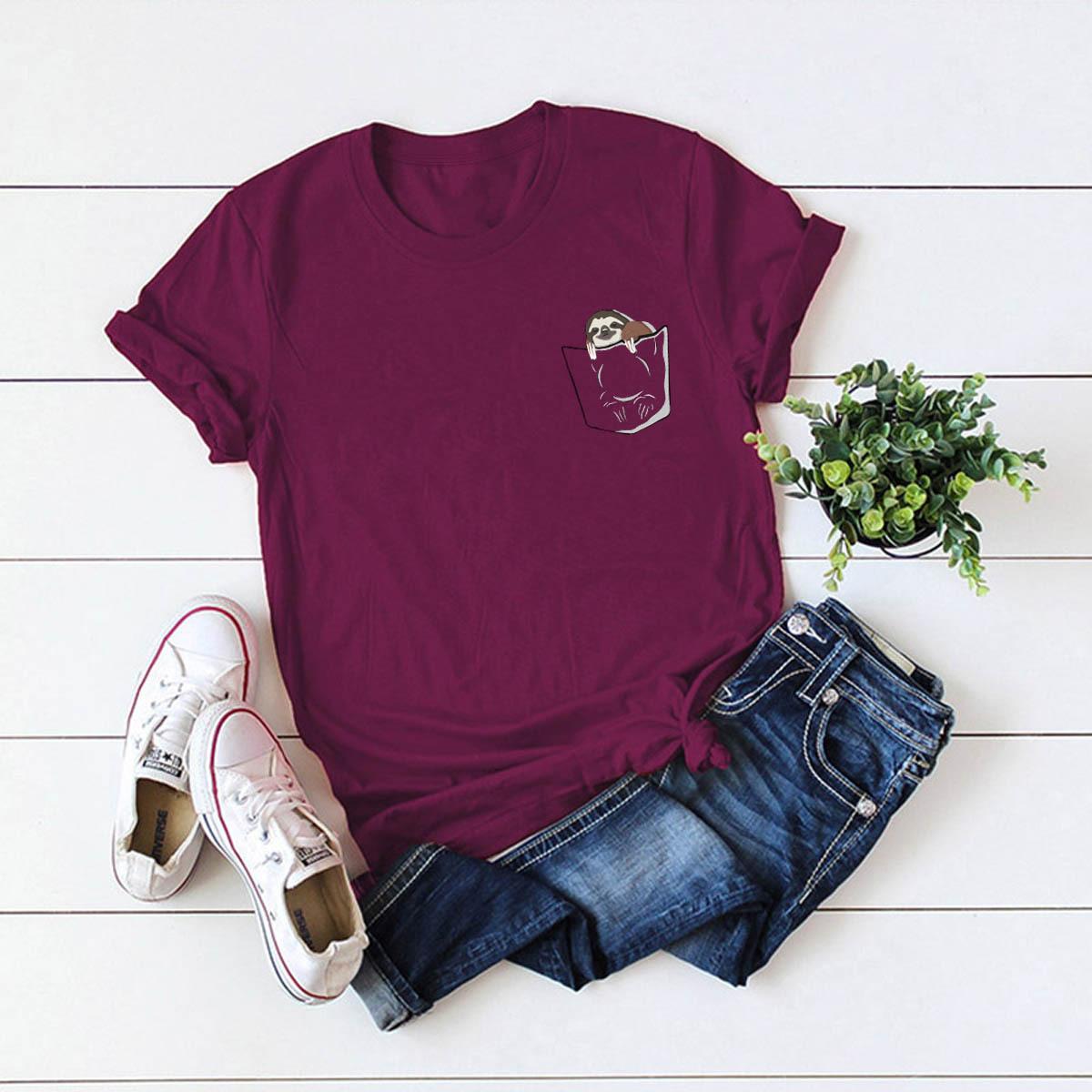 cute and playful pocket sloth women's t-shirt summer short sleeve NSSN3386