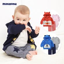 婴儿套装三件套男女宝宝长袖可爱连帽卫衣外套纯棉长裤哈衣包屁衣