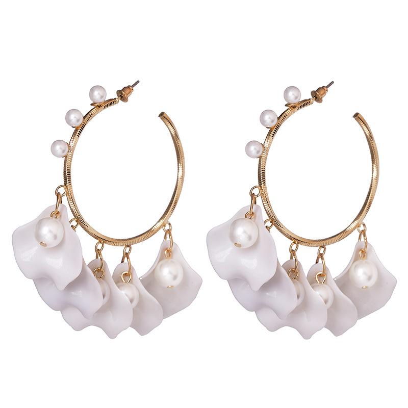 Rose petal C-shaped earrings for women NHJJ190118