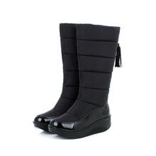 防水防滑冬靴紅色中跟厚底雪地靴女加厚高筒靴子羽絨棉靴41-44碼