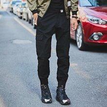 多袋男士军裤子 冬季休闲修身黑色工装裤潮牌 束脚配马丁靴裤韩版